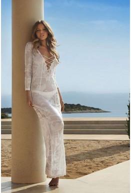 Плажна секси рокля в бял цвят