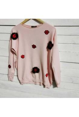 Блуза на целувки в розов цвят