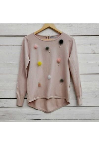 Блуза с естествени пухчета в бял и розов цвят