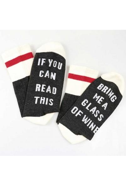 """Забавни чорапи с надпис на английски език """"WINE"""""""