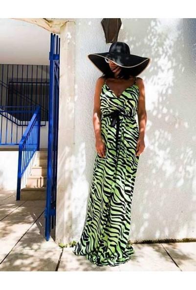 Дълга рокля в животински принт