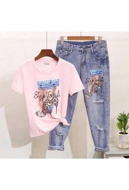 Комплект дънки с тениска в розов цвят