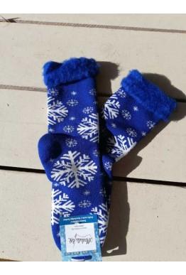 Коледни пухести чорапи от пан в син цвят със снежинки