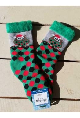 Коледни пухкави чорапи с бухалче в зелен цвят