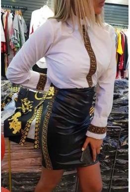 Сет от бяла риза и черна пола с кафяви орнаменти