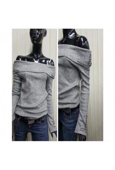 Дамска блуза с паднало рамо  в сив цвят