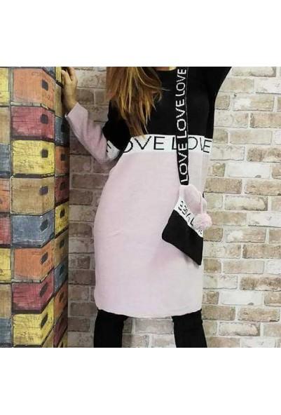 """Туника - рокля в черно и розово с чантичка """"LOVE"""""""